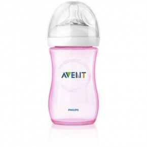AVENT шише за хранене Natural 260ml PP - лимитирана серия розово/синьо