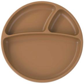 Minikoioi Portions силиконова чиния с вакуум - Woody Brown