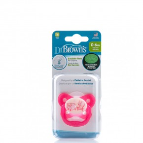 Dr. Brown's PreVent Нощна ПЕПЕРУДА Залъгалка, ортодонтска от Силикон, Етап-1, 0-6 месеца - Розово (Овца)