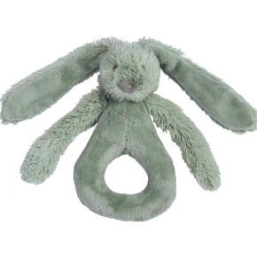 Happy Horse плюшена играчка зайчето Richie - дрънкалка (18 см) - Green