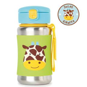 Skip Hop бутилка със сламка от неръждаема стомана жирафчето Джулс 252516