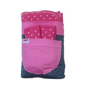 Minene облегалка за количка с протектори за колани  - розово със звездички