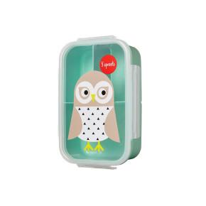 3 Sprouts кутия за храна с три отделения - Owl
