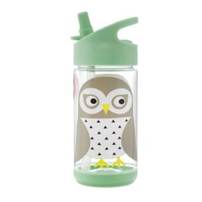 3 Sprouts бутилка за вода с мек накрайник - Owl