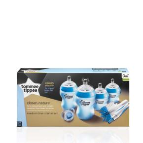 Tommee Tippee Комплект за новородено + четка за шишета Синьо
