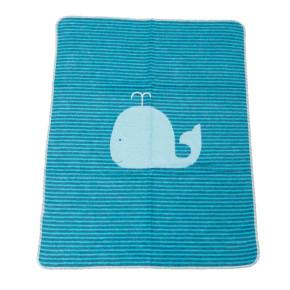 """David Fussenegger Juwel бебешко памучно одеяло """"кит"""" -синьо - многофункционално, 6801-23"""