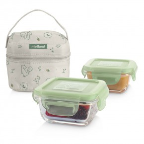 Miniland Baby PACK-2-GO Natursquare стъклени контейнери 2x160 мл - Chip