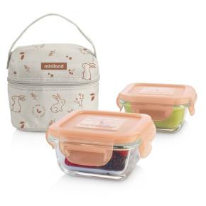 Miniland Baby PACK-2-GO Natursquare стъклени контейнери 2x160 мл - Bunny