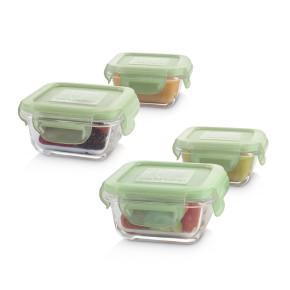 Miniland Baby Natursquare стъклени контейнери 4x160 мл - Chip