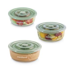 Miniland Baby Naturround комплект стъклени контейнери 3x300 ml - Chip