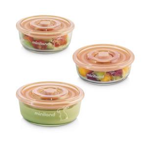 Miniland Baby Naturround комплект стъклени контейнери 3x300 ml - Bunny
