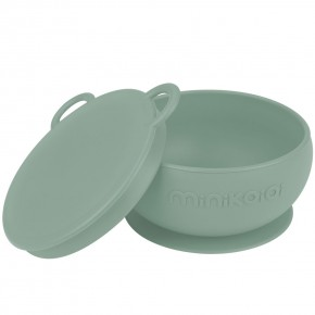 Minikoioi Bowly силиконова купа с вакуум и капак - River Green