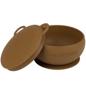 Minikoioi Bowly силиконова купа с вакуум и капак - Woody Brown