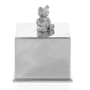 The Juliana Collection луксозен подарък за новородено посребрено музикално кубче с 3D мече CG260