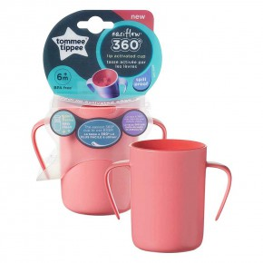 Tommee Tippee Easiflow 360 неразливаща се преходна чаша с дръжки 200 мл - розова