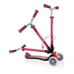 Globber Elite Prime тротинетка със светещи колела и палуба - New Red