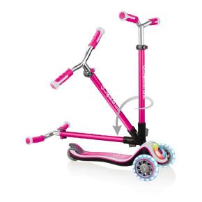 Globber Elite Prime тротинетка със светещи колела и палуба - Deep Pink