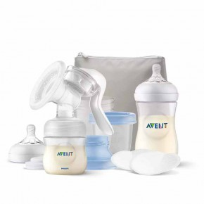 Philips AVENT Ръчна помпа за изцежане Natural Motion с контейнери VIA, шишета за хранене Natural, несесер