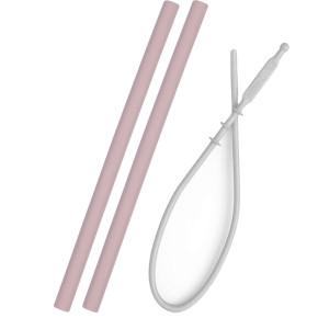 Minikoioi Flexi Straws силиконови сламки 2 бр. - Pink и четка