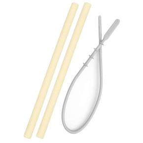 Minikoioi Flexi Straws силиконови сламки 2 бр. - Yellow и четка