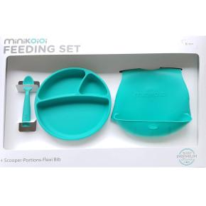 Minikoioi Feeding Set комплект за хранене - 100% силикон - 6 м+, Green