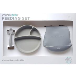 Minikoioi Feeding Set комплект за хранене - 100% силикон - 6 м+, Grey