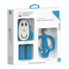 Matchstick Monkey Teethhing Starter Set комплект силиконови чесалки с антимикробна технология - Blue