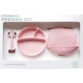 Minikoioi Feeding Set комплект за хранене - 100% силикон - 6 м+, Pink