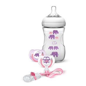AVENT Подаръчен комплект – дизайн слончета– за МОМИЧЕ