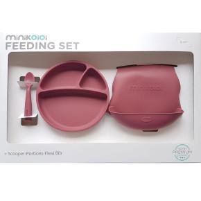 Minikoioi Feeding Set комплект за хранене - 100% силикон - 6 м+, Rose