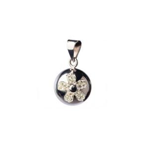 Bola медальон за бременни - Silver with Glitter Flower